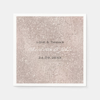 Ivory Titani Gold Blush Glitter Name Thank Wedding Napkin