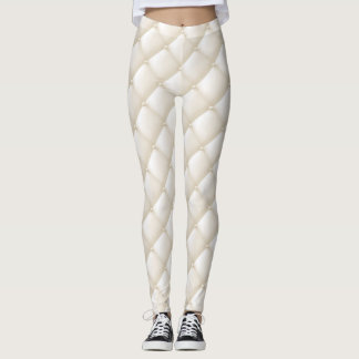 Ivory Tuffted Quilted Look Leggings