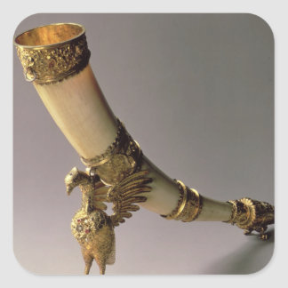 Ivory tusk drinking horn with silver-gilt mounts square sticker