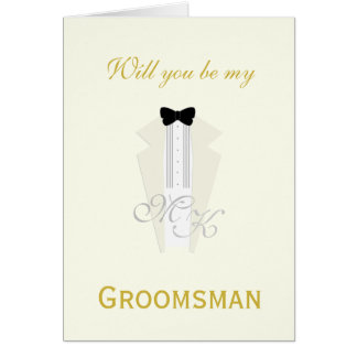 Ivory Tuxedo Groomsman Customised Request Card