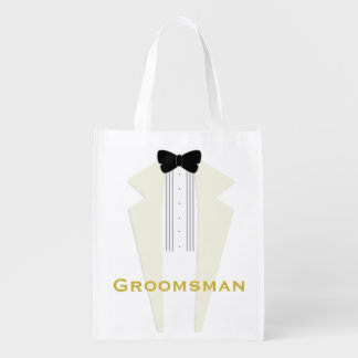 Ivory Tuxedo Groomsman Wedding Party Reusable Bag Market Totes