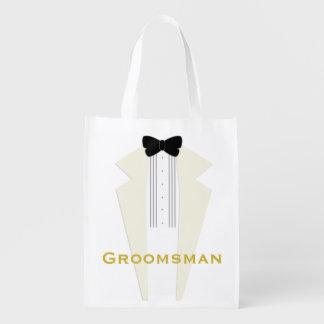 Ivory Tuxedo Groomsman Wedding Party Reusable Bag Market Totes