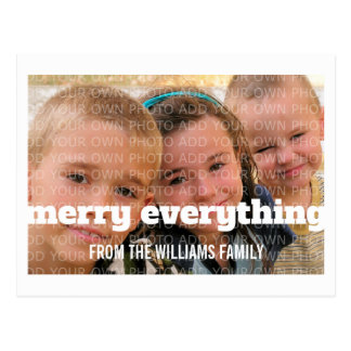 Ivory Typography Merry Everything Photo Postcard
