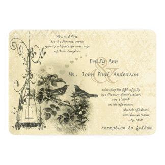 Ivory Vintage Bird Cage Love Birds Card