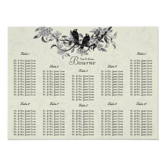 Ivory Vintage Birds Seating Chart Table Numbers