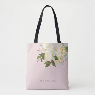 Ivory Watercolor Florals on Blush Tote Bag