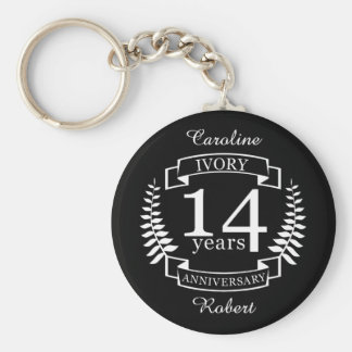 Ivory wedding anniversary 14 years basic round button keychain