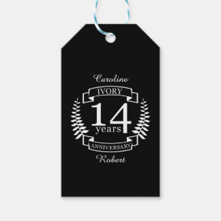 Ivory wedding anniversary 14 years pack of gift tags