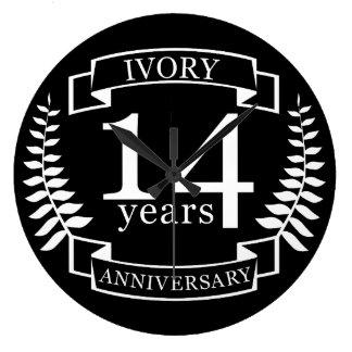 Ivory wedding anniversary 14 years wallclock