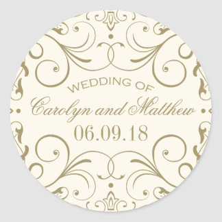 Ivory Wedding Monogram | Antique Gold Flourish Classic Round Sticker