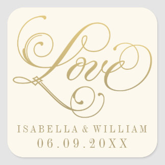 Ivory Wedding Stickers | Love in Gold Script