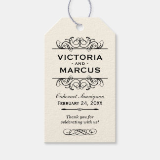 Ivory Wedding Wine Bottle Monogram Favour Tags