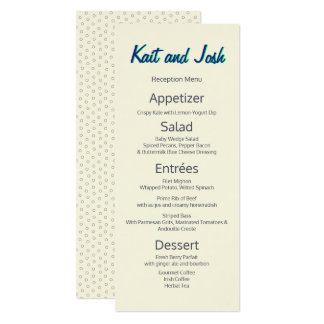 Ivory White Minimalist Custom Wedding Menu Card