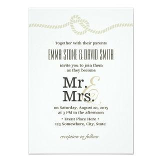 Ivory White Mr. & Mrs. Tying the Knot Wedding Card