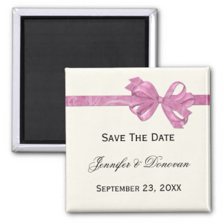 Ivory with Pink Ribbon Bow Save The Date Magnet