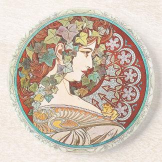 Ivy - Alphonse Mucha Ceramic Coaster