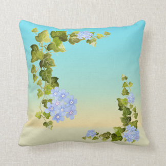 Ivy and Blue Floral Print Throw Pillow