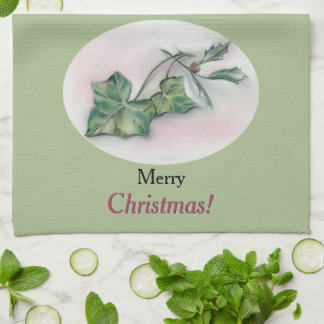 Ivy and Holly Christmas Kitchen Towel