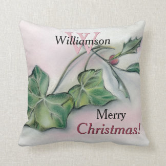 Ivy and Holly Christmas Monogrammed Throw Pillow