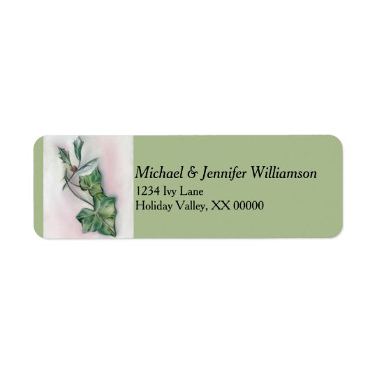 Ivy and Holly Christmas Return Address Label