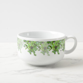Ivy and Wild Flowers Soup Bowl With Handle