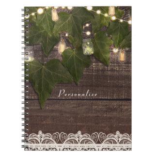 Ivy & String Lights Mason Jar Rustic Elegant Notebook