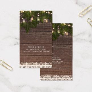 Ivy String Lights Mason Jar Rustic Refer a Friend Business Card