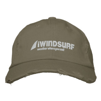 iW Olive Distressed Hat Embroidered Baseball Cap
