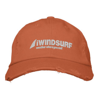iW Orange Distressed Hat Embroidered Hat