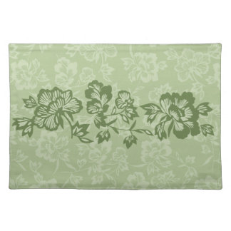Iwalani Vintage Hawaiian Floral Band Moss Green Placemat