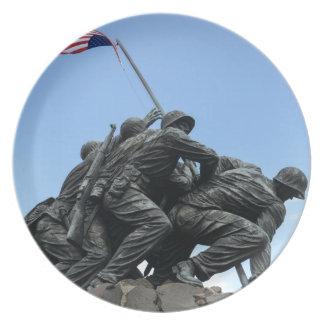 Iwo Jima Memorial in Washington DC Party Plates