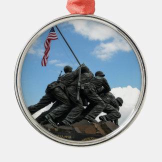 Iwo Jima Memorial in Washington DC Silver-Colored Round Ornament
