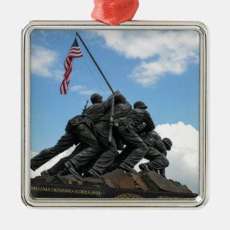 Iwo Jima Memorial in Washington DC Silver-Colored Square Ornament