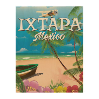 Ixtapa Mexico Beach poster Wood Canvas