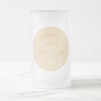 IXTHUS Christian Fish Symbol - GOLD 16 Oz Frosted Glass Beer Mug
