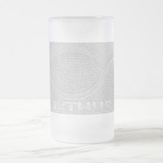 IXTHUS Christian Fish Symbol - Silver 16 Oz Frosted Glass Beer Mug