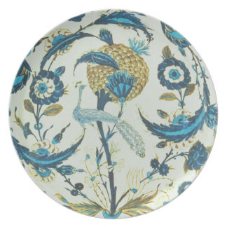 Iznik dish painted with a peacock perched among fl plate