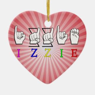 IZZIE FINGERSPELLED ASL NAME SIGN CERAMIC ORNAMENT