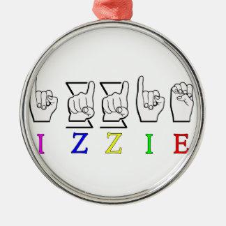 IZZIE FINGERSPELLED ASL NAME SIGN METAL ORNAMENT