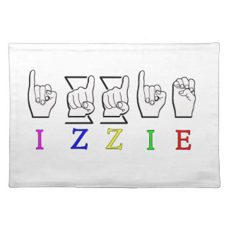IZZIE FINGERSPELLED ASL NAME SIGN PLACEMATS