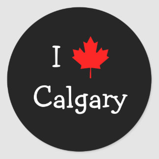 J aime Calgary Autocollant Rond