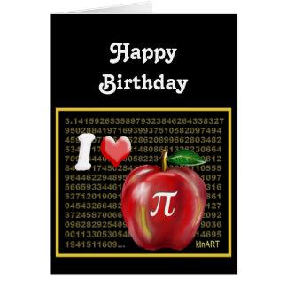 J aime la tarte aux pommes et le rouge et l or de carte de vœux