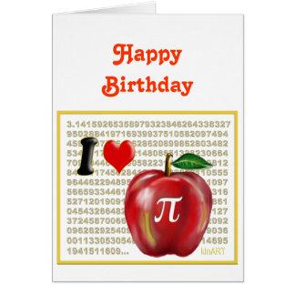 J aime la tarte aux pommes et le rouge et l or de cartes de vœux