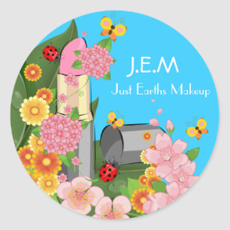 J.E.M, Just Earths Makeup Label Round Sticker