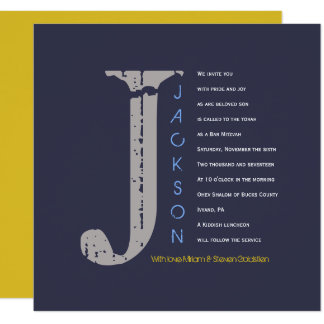 J Initial Collection Bat Bar Mitzvah Invitation