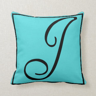 J INITIAL PILLOW - Letter J on Aqua Background