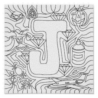 J Is For Jewels Color In Letter Poster