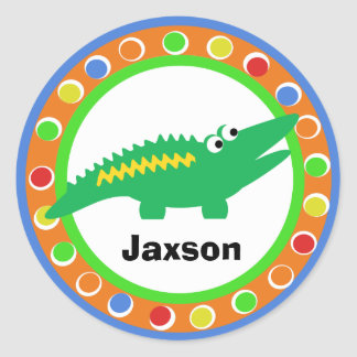 J is for Jungle Alligator Classic Round Sticker