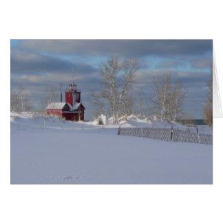 J Spoelstra Big Red in Winter Card