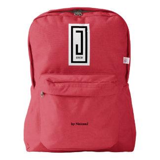 j wear design backpack w/ white emblem